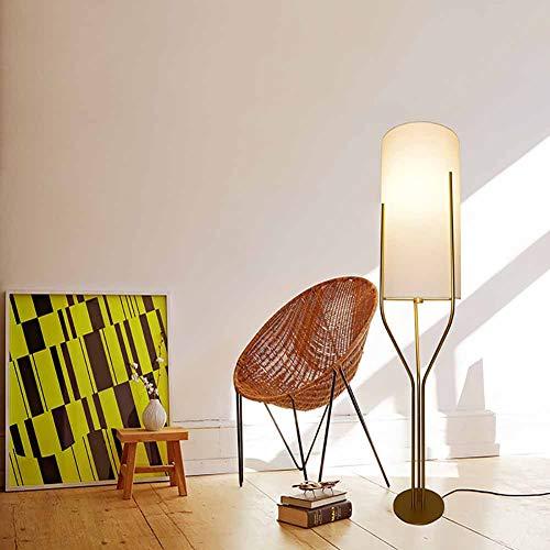 FHTD Nordic New Soft Light Stoff Lampenschirm Stehlampe Schmiedeeisen Bracket DREI Gabel Innenbeleuchtung Nachttischlampe Wohnzimmer Schlafzimmer Warme Atmosphäre Stehlampe,Medium -