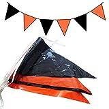 10m Wimpelkette Girlande verschiedene Farben (Orange-Schwarz)