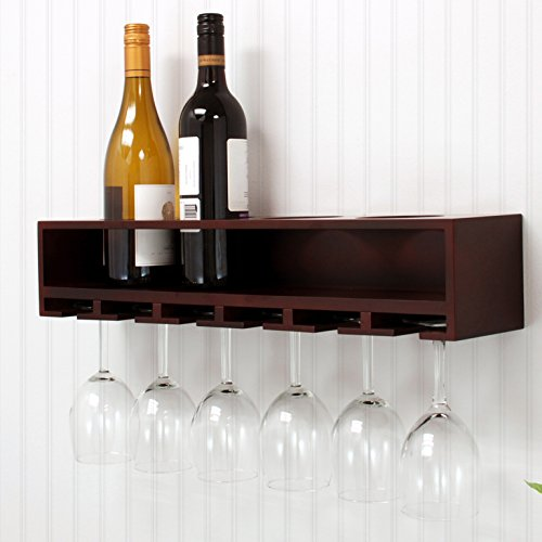 Angel furniture Wall Mount Claret Solid Wood Glass rack (Mahogany)