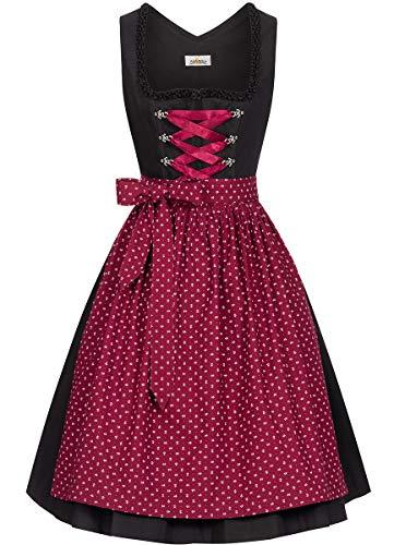 Almsach Damen Trachten-Mode Midi Dirndl Annika traditionell Gr.32-54, Größe:40, Farbe:Schwarz/Weinrot