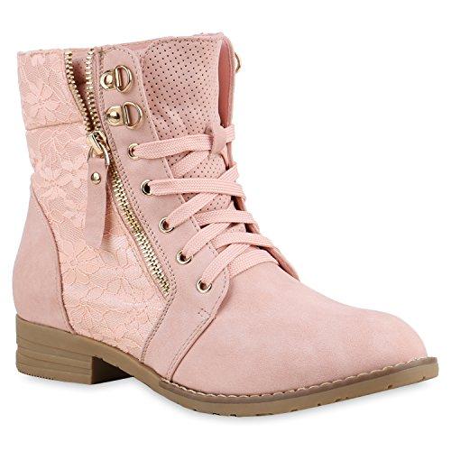 Stylische Damen Stiefeletten Worker Boots Spitze Knöchelhohe Stiefel Gesteppt Damen Leder-Optik Zipper Ketten Schuhe 134630 Rosa 40 Flandell