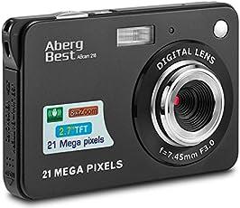 """AbergBest 21 Megapixel 2,7"""" LCD Wiederaufladbare HD Digitalkamera Digitale Videokamera Studentenkamera Indoor Outdoor für Erwachsene/Senioren / Kinder (Schwarz)"""
