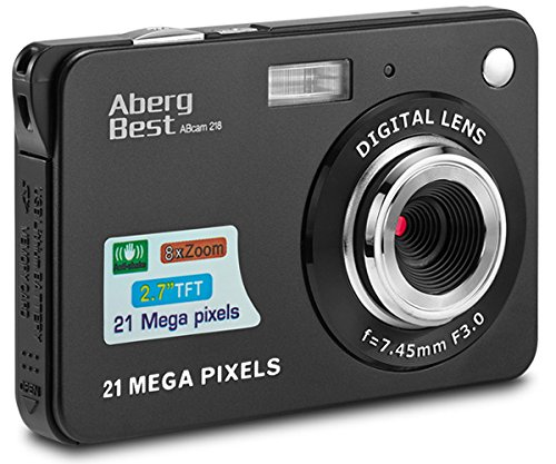 AbergBest 21 Mega Pixels 2.7' LCD Rechargeable HD Digital Camera - Digital video camera - Students cameras - Indoor Outdoor for Adult /Seniors / Kids (Black)