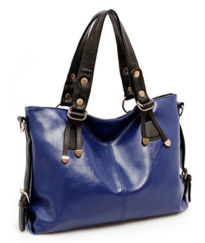 Leder Handtaschen Umhängetasche Beutel Tote Schultertaschen Damen Hobo Tasche blau