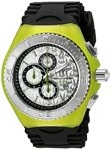 Technomarine Women's Quartz Watch with Silver Dial Chronograph Display and Black Silicone Strap TM-115193