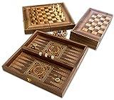 Marketerie-Schachspiel + Backgammon + Dame » ZAUBERTISCH «