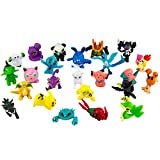 Big 24-Pack Pokemon Mini Figures for Kids Toys, Cake Toppers, Party Decoration, Collection. 1 Inch Tall Pearl Figures Including Pikachu & Many Other Randomly Chosen. Painted ABS Plastic