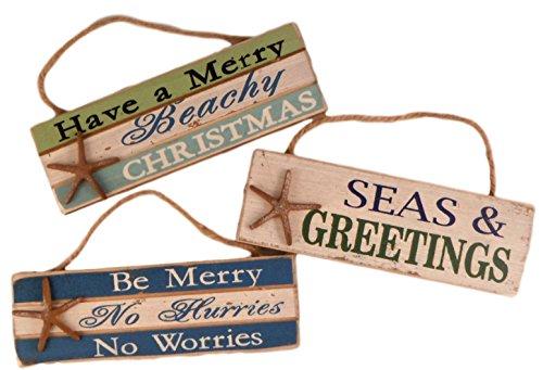 Capes Treasures Nautisches Weihnachten Ornament Schilder-Set von 3 -