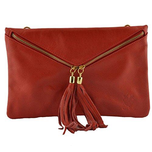Pochette En Cuir Couleur Rouge - Maroquinerie Fait En Italie - Sac Femme