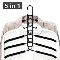Multi Layers Clothes Hangers - 5 in 1 Anti-slip Sponge Metal Coat Hangers Wardrobe Storage Rack Multifunctional Closet Hanger Space Saving Organizer for Jacket Coat Sweater Trousers Shirt T-Shirt