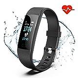 Akuti Y1 Armband mit Pulsuhr, Wasserdicht IP67 Fitness Tracker Uhr mit 4 Trainingsmodi/ 0,96 Zoll Farbbildschirm/Schrittzähler/Schlafmonitor/Anruf SMS Melden für Kinder Damen Herren, Schwarz, 0