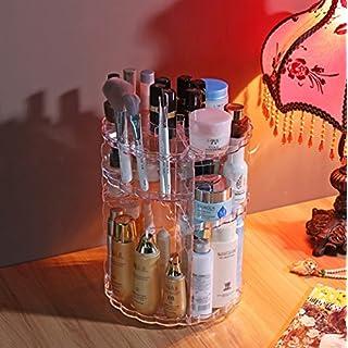 Addfun reg;360 Degree Rotation Transparent Cosmetic Storage Box Revolving Organizer Cosmetic Storage Holder Skincare Acrylic Storage Rack
