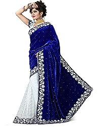 Lovisa Fashion Blue And White Half half Velvet saree (Saree__Blue and White__Velvet And Net___with Blouse)