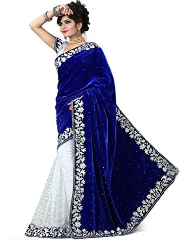 Lovisa Fashion Blue And White Half half Velvet saree (Saree__Blue and White__Velvet And Net___with Blouse)