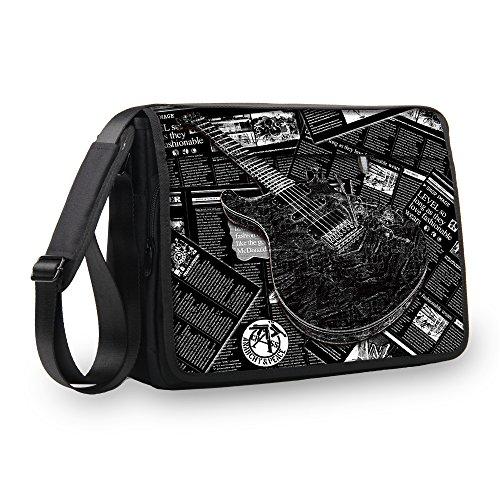 MySleeveDesign Messenger Bag Laptoptasche Notebooktasche mit Tragegurt - Tasche für Laptop & Notebook der Größen 13,3 Zoll / 14 Zoll / 15,6 Zoll / 17,3 Zoll - VERSCH. Designs - Grey Guitar - 17