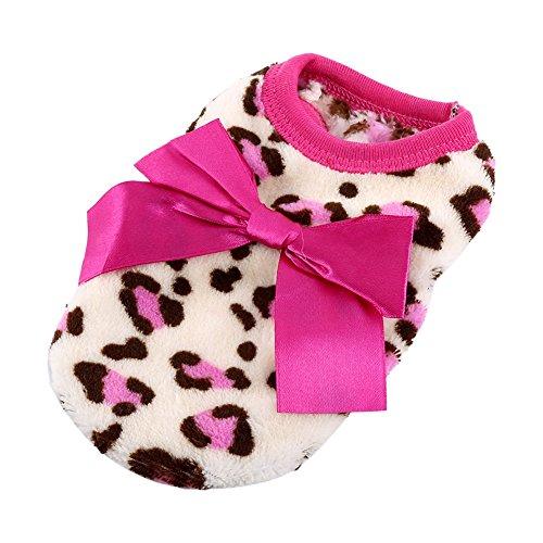 Kleiner Hund Weste Motiv Leoparden - Warm Soft Coral Fleece Kleidung für Winter Herbst Welpe ( Color : Pink , Size : XXS ) (Fleece Pink Leopard)