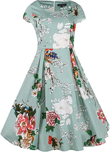 Jeansian Femme Mode Cocktail Fashion Retro Robes Women Dresses Slim Office Lady Floral Dress WKD312 LightGreen