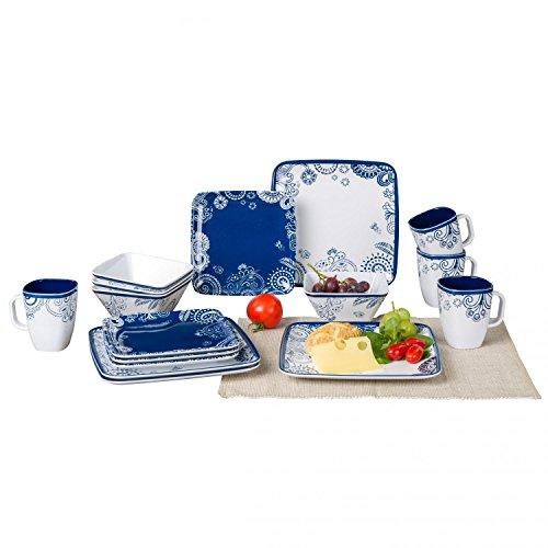 Berger Melamin leichtes Geschirrset Plaza 16 teilig für 4 Personen 4 Essteller 4 Müslischalen 4 Henkelbecher 4 Dessertteller
