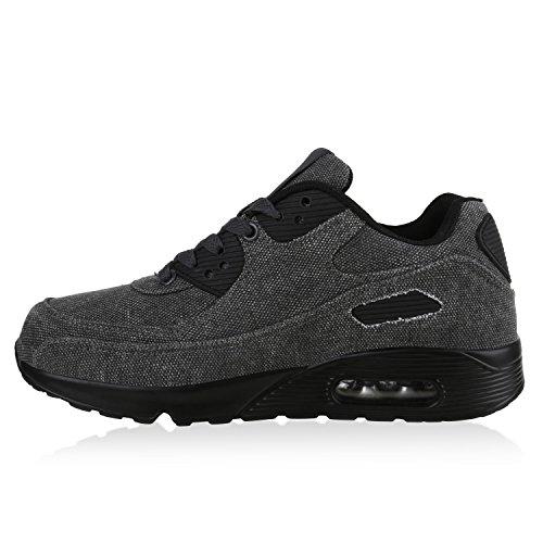 Damen Herren Unisex Sportschuhe Neon Runners Laufschuhe Sneakers Grau Stoff