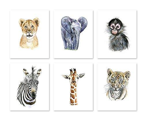 ry Wall Art Decor Poster, Watercolor Safari Baby Animal Prints-Wildlife Gemälde-Jungle Zoo Zimmer-African Thema für Kinder Babys New Born (8x 10) ()