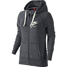 Nike W Nsw Gym Vntg Fz Felpa con Cappuccio, Antracite/Sail, M