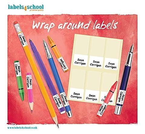Labels4school Lot de 60 étiquettes à enrouler pour stylos, crayons et matériel scolaire - avec nom et informations de contact personnalisés - imperméables - gain de temps et d'argent, fini les objets perdus
