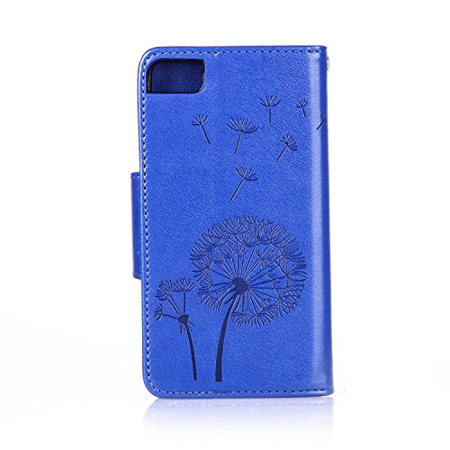 BQ Aquaris M4.5 Custodia, Cover per BQ Aquaris M4.5, JAWSEU BQ Aquaris M4.5 Custodia Portafoglio Pelle Protectiva Bumper [Shock-Absorption] Lusso 3D Sollievo Wallet Leather Flip Cover Custodia per BQ  Dente di leone Diamante, Blu