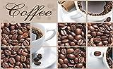 Forwall Fototapete Vlies Wanddeko Kaffeebohnen Braun - Café Kaffee Kaffeetasse Wanddekoration 114VEP 250cm x 104cm