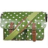 Miss LuLu Wachstuch Tasche Umhängetasche Schultasche mit vielen Drucken in vielen Farben (D2-GN)