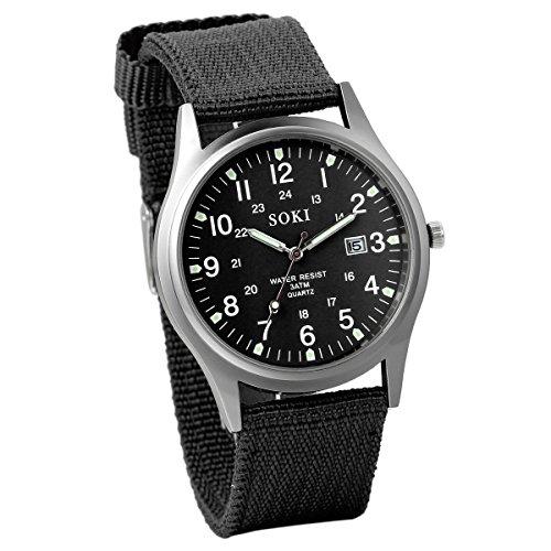 JewelryWe Herren Armbanduhr Kalender LED Licht Canvas Stoff Band Quarz Analog Uhr Schwarz