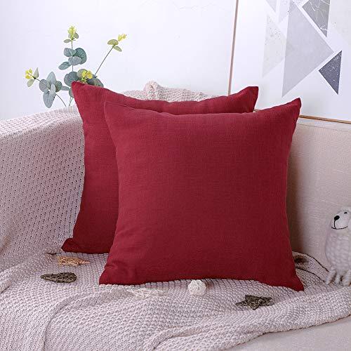 Artscope confezione da 2 federe decorativo cuscini per divani cotone biancheria gettare tinta unita caso federa per cuscino divano letto auto 45 x 45 cm (rosso)