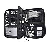 Nomalite Organizzatore per Cavi da Viaggio Custodia Nera per Cavi, caricabatteria e Accessori elettronici con 5 Tasche, 20 Elastici & 3 Aperture per SIM Card/USB. Ideale per Escursioni/Lavoro.