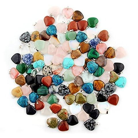 Cmidy 50pcs Heart Shape Gemstone Healing Chakra Beads Crystal Quartz DIY Stone Randow Color Gemstone Pendants for Necklace Earring Jewelry Making (50)