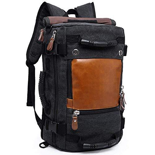 Rookly spalla escursionismo zaini zaino outdoor sports water resistant zaino da viaggio borsone all-in-1 canvas daypack camping bag,black