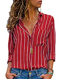AitosuLa Chemisier Femme Blouse Rayures Col V Casual Mode Tunique Haut Top Shirt Manche Longue