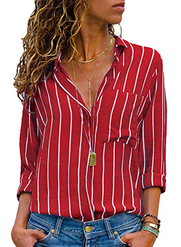 AitosuLa Bluse Gestreift Damen Hemd Oberteile V-Ausschnitt Lose Casual Chiffon Langarm T-Shirt Top Tunika Elegant Langarmshirt Streifen Rot Weiß S
