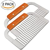 MOACC Wavy Crinkle Cutting Tool Serrator Salad Chopping Knife and Vegetable French Fry Slicer,Steel Blade Wooden Handle,18.5x12cm,Set of 2