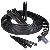 HOLZBRINK Rasenkante Wurzelsperre Flexibles PVC Band inkl. 20 Anker, Höhe 38mm, Länge: 10m, HRK02-38