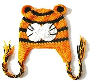Réf361 BB.183 - Bonnet Bébé Enfant Fille Garçon - Bonnet Tigre - Crochet Fait Main - Cadeaux Props Photos de Naissance