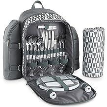 VonShef Mochila con mantel de picnic para 4 personas con estampado gris geo