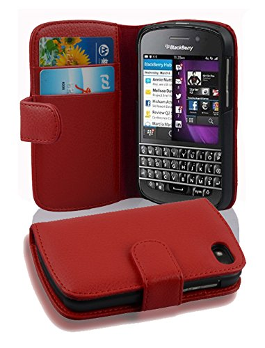 Cadorabo Hülle für BlackBerry Q10 - Hülle in Inferno ROT – Handyhülle mit Kartenfach aus struktriertem Kunstleder - Case Cover Schutzhülle Etui Tasche Book Klapp Style