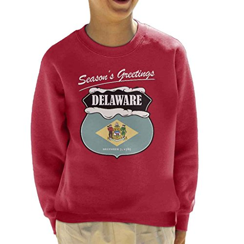 Seasons Greetings Delaware State Flag Christmas Kid's Sweatshirt (Delaware Klassischen Sweatshirt)