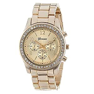 Geneva Chronograph Look Watch with Crystals..Gold Tone Metal Link