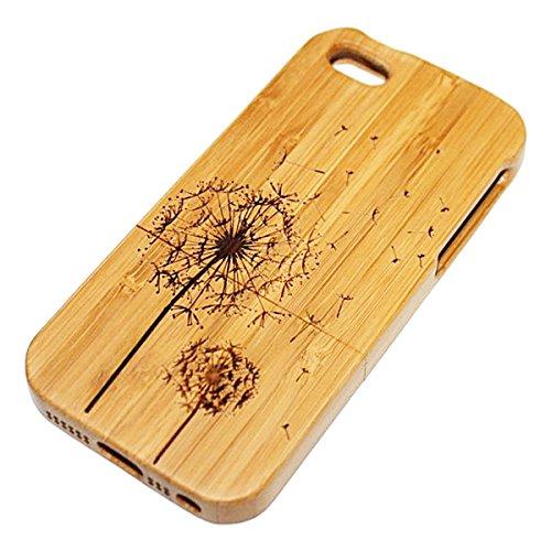 GrandEver Hand Natürliche Bambusholz Fest Schutzhülle Hard Case für iPhone 5 5S Case Cover Shell Schutzhülle Etui Mode Muster Handy Tasche Hülle für iPhone 5 5S - Panda Löwenzahn