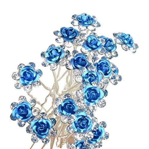 HugeStore 40 Stück Blumen Strass Haarnadeln Haarspangen Perlen Haarnadeln Brauthaarschmuck Haarschmuck für Braut Hochzeit Blau