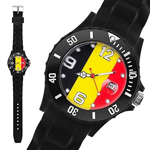 Taffstyle® Fanartikel Silikon Armbanduhr Fussball Länder Flaggen Style Belgien