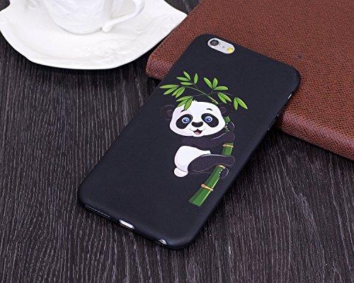Silicone Custodia per iPhone 7/iPhone 8 (4.7), EUWLY Colorato 3D Modello Style Protettiva TPU Custodia Cassa per [iPhone 7/iPhone 8 (4.7)], Nero Protettiva Cover Case Ultra Sottile Morbida Silicone  Panda Bambù