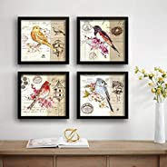 SAF Love Bird Designer Set of 4 UV Textured Painting (19 x 19 Inches, SAF_SET4_6)