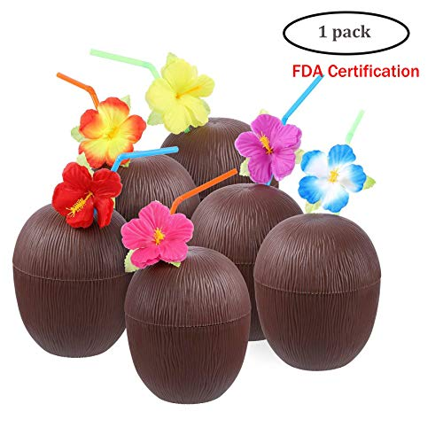 A Kokosnussbecher mit Strohhalmen und Blumen 12er-Pack Plastik-Kokosnussbecher zum Spaß Hawaii Hawaiian Luau Tiki & Kinder Beach Theme Partyangebot im Sommer oder zur Dekoration,1pc,Coconut