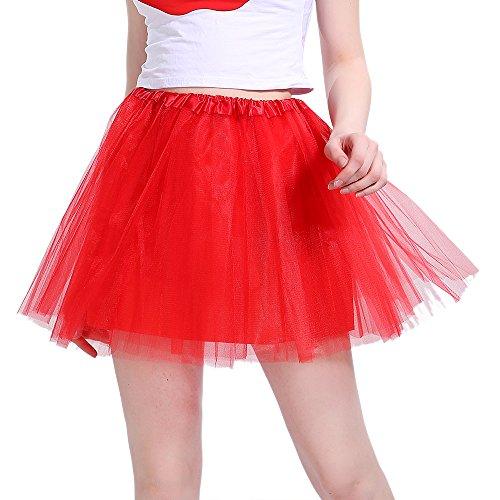 iLoveCos 80er Jahre Neon Tütü/Tutu/Tüllrock/Unterrock Petticoat Rüschen Geschichteten Pink Regenbogen Rot Rock Kleid Kostüm 1980er Jahre Neon Fancy Dress Outfit Zubehör für Kinder (red)